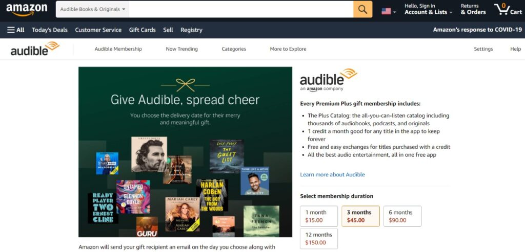 amazon audiobook gift