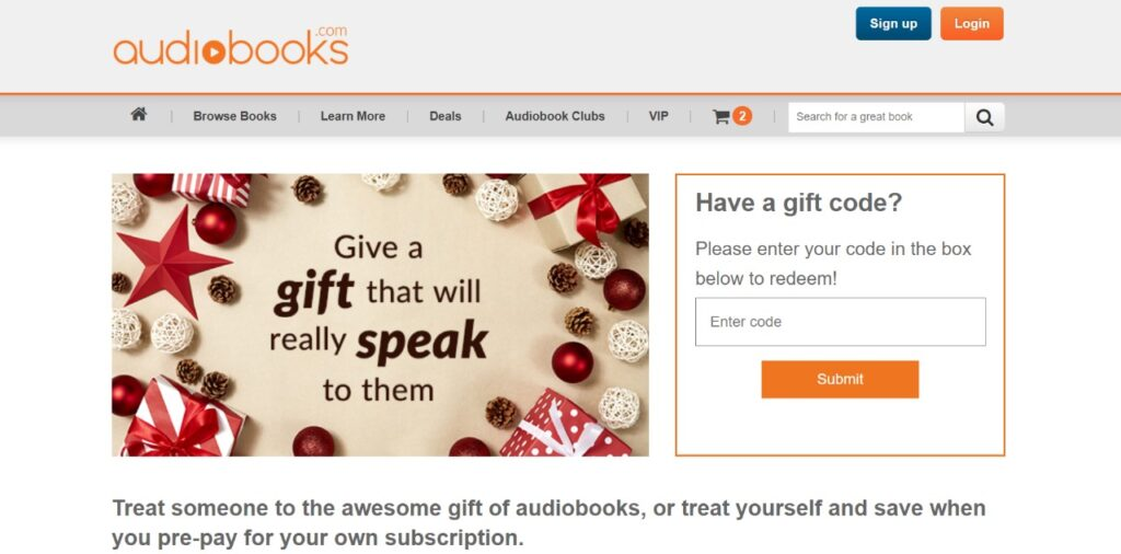 audiobooks.com gift audiobooks