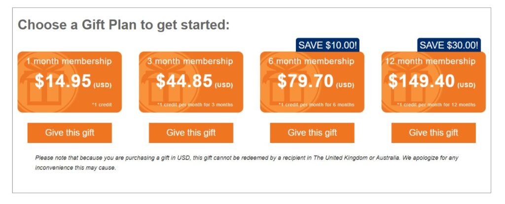 audiobooks.com gift membership plan