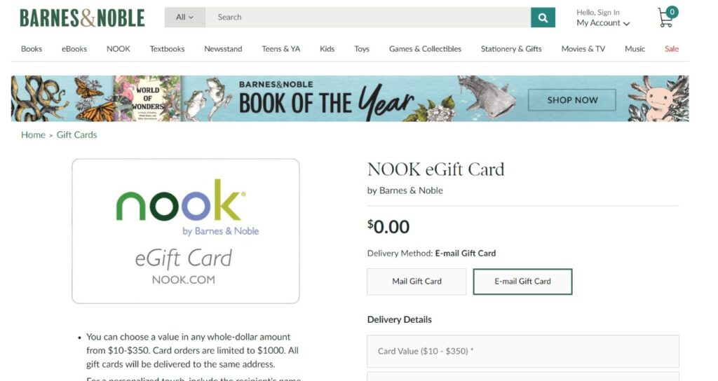 nook audiobooks gift card